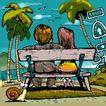趣味插画0074,趣味插画,标题插画,海边 长椅 恋人