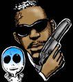 趣味插画0080,趣味插画,标题插画,黑社会 首领 手枪