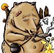 趣味插画0095,趣味插画,标题插画,狗熊 漫画 生火