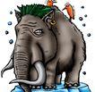 趣味插画0096,趣味插画,标题插画,大象 象牙 生物