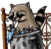 趣味插画0098,趣味插画,标题插画,浣熊 栏杆 插画