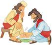 圣教0174,圣教,标题插画,主子 男仆 伺候洗脚