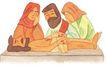 圣教0176,圣教,标题插画,古代教徒 死人 悲伤的亲人