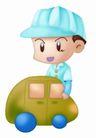 卡哇伊喷画素材0048,卡哇伊喷画素材,标题插画,小车子 蓝色帽子