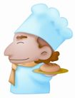 卡哇伊喷画素材0060,卡哇伊喷画素材,标题插画,卡通形象 大厨师 端菜