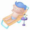 卡哇伊喷画素材0065,卡哇伊喷画素材,标题插画,孩子 躺椅 夏天