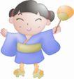 卡哇伊喷画素材0067,卡哇伊喷画素材,标题插画,日本 女孩 和服
