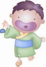 卡哇伊喷画素材0069,卡哇伊喷画素材,标题插画,木屐 顽童 玩耍