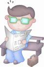 卡哇伊喷画素材0071,卡哇伊喷画素材,标题插画,看报 绿色 眼镜
