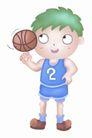 卡哇伊喷画素材0075,卡哇伊喷画素材,标题插画,手指 旋转 篮球