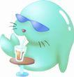 卡哇伊喷画素材0092,卡哇伊喷画素材,标题插画,卡通 小猫 饮料
