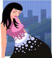 亚洲时尚0010,亚洲时尚,标题插画,眯眼 淑女 长发