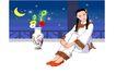 亚洲时尚0018,亚洲时尚,标题插画,弯月 插花 抱腿