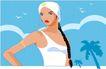 亚洲时尚0028,亚洲时尚,标题插画,长辫子 时尚女孩 椰树