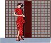 亚洲时尚0047,亚洲时尚,标题插画,红色旗袍