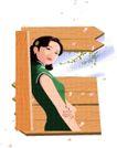 亚洲时尚0051,亚洲时尚,标题插画,亚洲女性 绿旗袍 气质优雅
