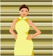 亚洲时尚0052,亚洲时尚,标题插画,时尚魅力 黄色旗袍 婀娜多姿