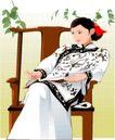 亚洲时尚0053,亚洲时尚,标题插画,古典美 木椅 黑白衣裳