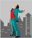 亚洲时尚0056,亚洲时尚,标题插画,潇洒人生 楼房背景 舒展身体