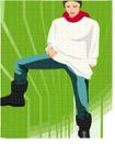 亚洲时尚0057,亚洲时尚,标题插画,时髦生活 红围巾 白衣裳