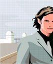 亚洲时尚0060,亚洲时尚,标题插画,风尚男性 西装革履 坚毅眼神