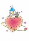 浪漫情人0049,浪漫情人,标题插画,大颗的红心