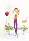 浪漫情人0052,浪漫情人,标题插画,花朵 红心 毛巾