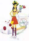 浪漫情人0053,浪漫情人,标题插画,彩绘人物 短裙 玩具