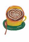 浪漫情人0057,浪漫情人,标题插画,杯垫 一杯咖啡 勺子