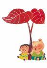 浪漫情人0058,浪漫情人,标题插画,小猪系列 可爱形象 坐在叶子下