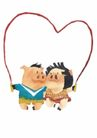 浪漫情人0059,浪漫情人,标题插画,可爱小猪 搂在一起 跳绳