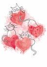浪漫情人0063,浪漫情人,标题插画,猫咪 尾巴 心形