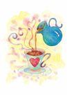 浪漫情人0069,浪漫情人,标题插画,茶壶 咖啡 杯子