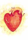 浪漫情人0073,浪漫情人,标题插画,老鼠 趴睡 红心