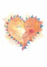 浪漫情人0074,浪漫情人,标题插画,两颗心 相互 融合