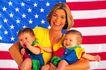 幼儿世界0175,幼儿世界,亲子教育,美国国旗 开心妈妈 双胞胎孩子