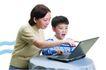 家庭亲情0060,家庭亲情,亲子教育,家庭 看电脑 一起上网