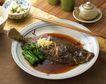 日式美食0052,日式美食,美食,煎鱼 青菜 筷子