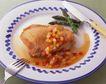 美味烧烤0068,美味烧烤,美食,鸡块 刀叉 瓷盘