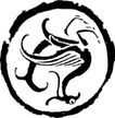 拓印0274,拓印,古典艺术,圆形 翅膀 倒转