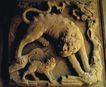 典藏文化0079,典藏文化,中华文化,母狼 壁雕 幼子