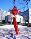 中国结0078,中国结,中华文化,宾馆 枯枝 树影