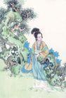 仕女图0065,仕女图,中华文化,小姐 假山 游玩