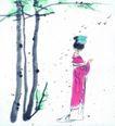 仕女图0068,仕女图,中华文化,小家 碧玉 树木