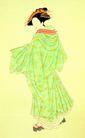 仕女图0070,仕女图,中华文化,夫人 木屐 和服