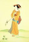 仕女图0071,仕女图,中华文化,仕女 手拿 竹叶