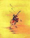 仕女图0077,仕女图,中华文化,将军 飞箭 躲避