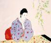 仕女图0100,仕女图,中华文化,树下 绣花 年华