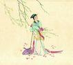 仕女图0102,仕女图,中华文化,裳花 树枝 小家碧玉