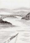 古代风景0044,古代风景,中华文化,桥梁 扁舟